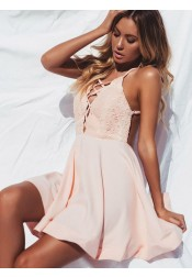 A-Line Spaghetti Straps Backless Satin Homecoming Dress with Lace