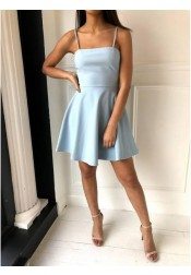 A-Line Spaghetti Straps Above-Knee Light Blue Satin Homecoming Dress with Bowknot Back