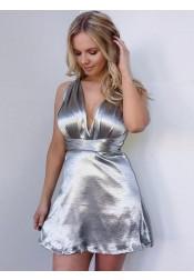 A-line Deep V-Neck Criss-cross Straps Silver Homecoming Dress