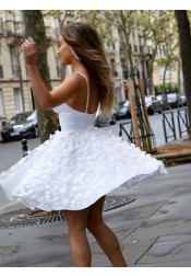 Sweet A-line V-neck Straps Sleeveless Short White Polyester Homecoming Dress with Flowers