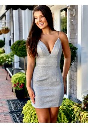 Sheath Spaghetti Straps Silver Sleeveless Short Homecoming Party Dress