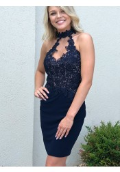 Sheath High Neck Above Knee Blue Homecoming Dress with Appliques Beading