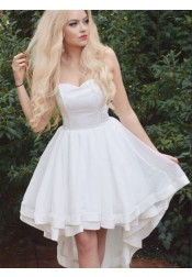 A-Line Strapless High Low White Satin Homecoming Party Dress