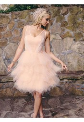 A-Line V-Neck Knee Length Pearl Pink Tulle Homecoming Dress