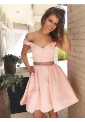 A-Line Off-the-Shoulder Pink Satin Homecoming Dress with Beading Pockets