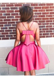 A-Line Spaghetti Straps Fuchsia Satin Homecoming Dress with Pockets Bowknot