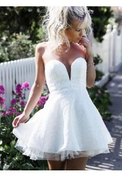 A-Line Sweetheart Short White Lace Homecoming Party Dress