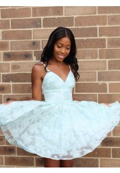 A-Line Spaghetti Straps Mint Lace  Short Homecoming Dress