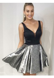 A-Line V-Neck Black Satin Pleated Short Homecoming Prom Dress with Pockets