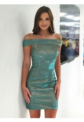 Sheath Off-the-Shoulder Green Sequined Homecoming Party Dress