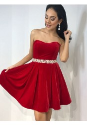 A-Line Strapless Above Knee Black Velvet Homecoming Dress with Pearls