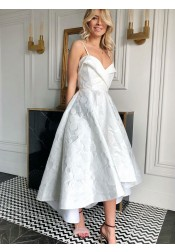 A-Line Spaghetti Straps Tea-Length White Floral Satin Homecoming Dress