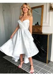 A-Line Spaghetti Straps Tea-Length White Floral Satin Homecoming Dress