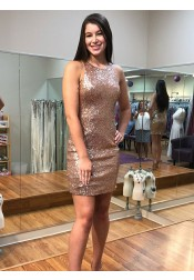 Sheath Round Neck Open Back Rose Gold Sequined Homecoming Dress