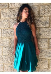 A-Line Jewel Turquoise Chiffon Homecoming Dress with Lace Beading