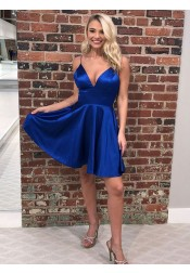 A-Line Spaghetti Straps Royal Blue Satin Homecoming Dress