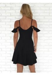A-Line Cold Shoulder Short Black Homecoming Dress