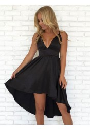 A-Line V-Neck High Low Sleeveless Black Satin Homecoming Dress