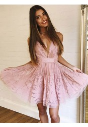 A-Line V-Neck Sleeveless Above Knee Pink Lace Homecoming Dress