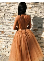 A-Line V-Neck Backless Gold Tulle Homecoming Dress with Appliques