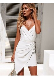 Sheath V-Neck Sleeveless Ruched White Mini Homecoming Party Dress