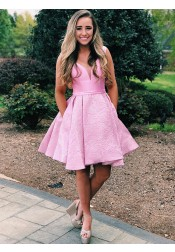 A-Line V-Neck Low Cut Pleated Pink Floral Satin Short Homecoming Prom Dress with Pockets
