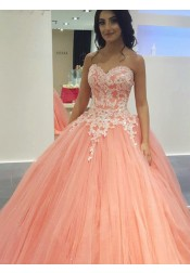 Ball Gown Sweetheart Sweep Train Pink Tulle Appliques Quinceanera Dress