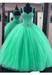Ball Gown Straps Blue Tulle Quinceanera Dress with Sequins Appliques