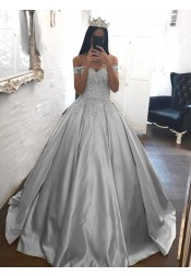 Ball Gown Off-the-Shoulder Silver Satin Quinceanera Dress with Appliques