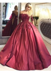 Ball Gown Illusion Bateau Burgundy Appliques Quinceanera Dress with Sleeves