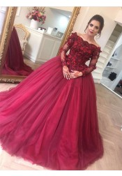 Ball Gown Off Shoulder Long Sleeves Dark Red Appliques Quinceanera Dress