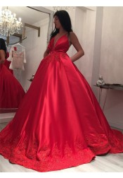 Ball Gown Spaghetti Straps Red Satin Appliques Prom Dress with Pockets