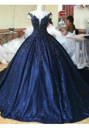 Ball Gown Off-the-Shoulder Dark Blue Quinceanera Dress with Appliques Pearls