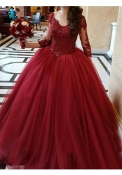 Ball Gown V-Neck 3/4 Sleeves Burgundy Quinceanera Dress with Appliques