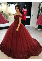Ball Gown Off-the-Shoulder Burgundy Tulle Quinceanera Dress with Appliques