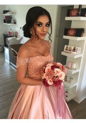 Ball Gown Off-the-Shoulder Pink Pleated Satin Quinceanera Dress with Appliques