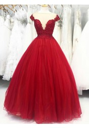 Ball Gown Illusion Bateau Red Organza Quinceanera Dress with Appliques