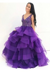 Ball Gown V-Neck Floor-Length Purple Tiered Tulle Beaded Quinceanera Dress