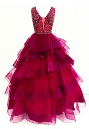 Ball Gown V-Neck Tiered Dark Red Tulle Beaded Quinceanera Dress