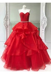 Ball Gown Sweetheart Red Tiered Organza Quinceanera Dress with Beading