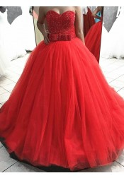 Ball Gown Sweetheart Long Red Tulle Quinceanera Dress with Sequins