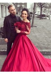 Ball Gown Off-the-Shoulder Long Sleeves Red Satin Appliques Quinceanera Dress