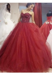 Ball Gown Sweetheart Floor-Length Burgundy Tulle Sequins Quinceanera Dress