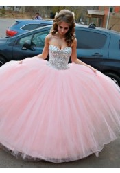 Ball Gown Sweetheart Pink Tulle Quinceanera Dress with Rhinestones