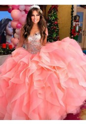 Ball Gown Sweetheart Tiered Pink Tulle Quiceanera Dress with Beading