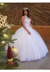 Ball Gown Halter White Tulle Quinceanera Dress with Beading Keyhole