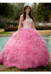 Ball Gown Sweetheart Pink Organza Beaded Quinceanera Dress