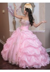 Ball Gown Sweetheart Pink Organza Quinceanera Dress with Beading