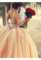 Ball Gown Strapless Peach Tulle Quinceanera Dress with Beading Rhinestones