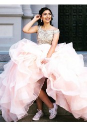 Ball Gown Off-the-Shoulder Pink Tulle Quinceanera Wedding Dress with Beading